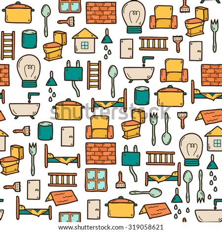 Household Items Furniture Appliances Vector Icons Stock
