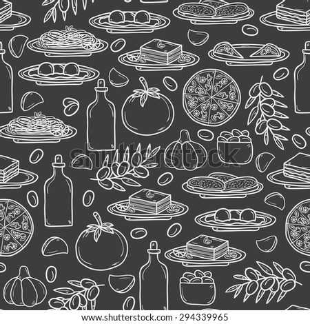 Seamless background with hand drawn objects on italian food theme: pizza, pasta, tomato, olive oil, olives, tiramisu, mozzarella, lasagna. Ethnic cuisine concept. Italian cuisine hand drawn objects - stock vector