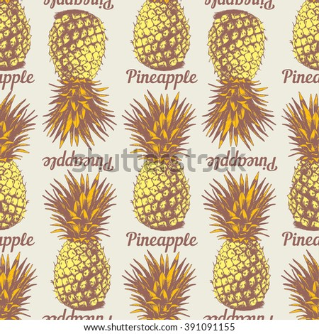 Seamless background with hand drawn pineapples in retro style coloring - stock vector