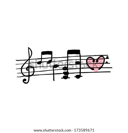 Seamless background with handwritten musical notes - stock vector
