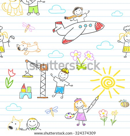 Seamless background with happy children in work wear. Sketch on notebook page in doodle style