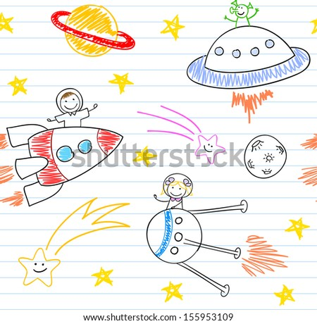 Seamless background with happy children's and aliens. Sketch on notebook page - stock vector