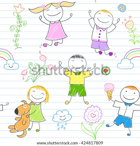 Seamless background with happy friends, playing outdoors. Sketch on notebook page