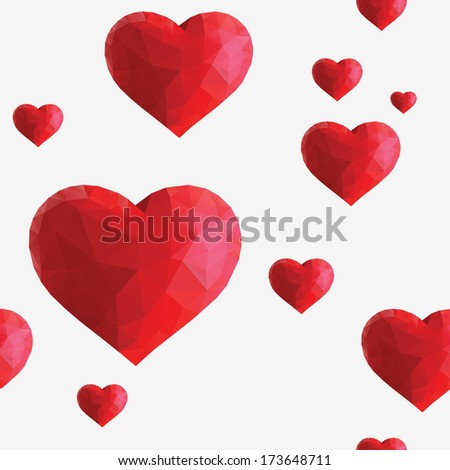 Seamless background with hearts. - stock vector
