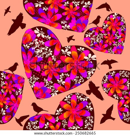 Seamless background with hearts of flowers and birds flying. Vector