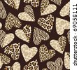 Seamless background with hearts with animal skin pattern. - stock photo
