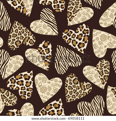 Seamless background with hearts with animal skin pattern. - stock vector