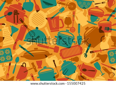 Seamless background with icons of kitchen ware and utensils - stock vector