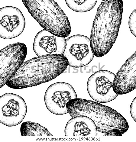 Seamless background with ink hand drawn vegetables. Healthy food background. Black cucumber isolated on white