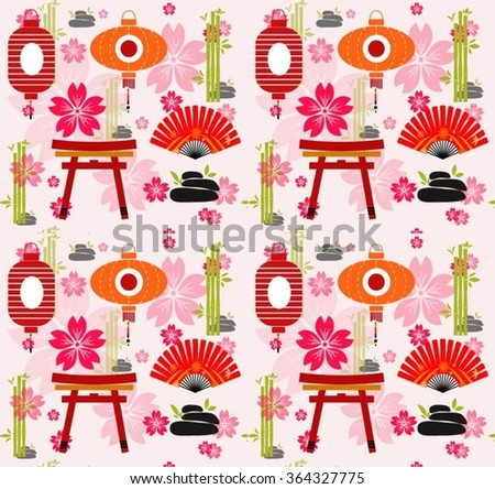 seamless background with Japanese miniatures on a white background - stock vector