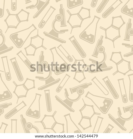 seamless background with laboratory equipment - stock vector