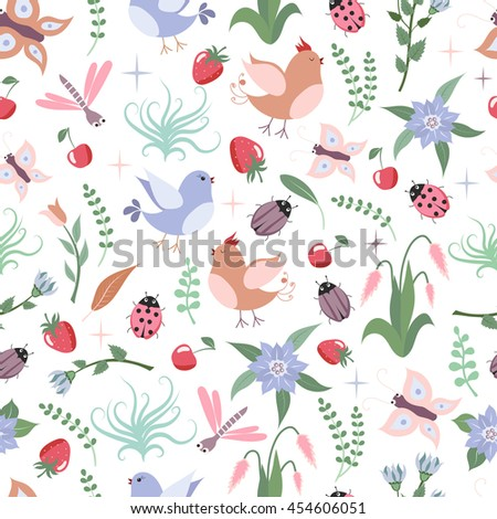 Seamless background with lovely birds, butterflies, bugs, dragonflies, branches, flowers, leaves, strawberries and cherries for your design. - stock vector