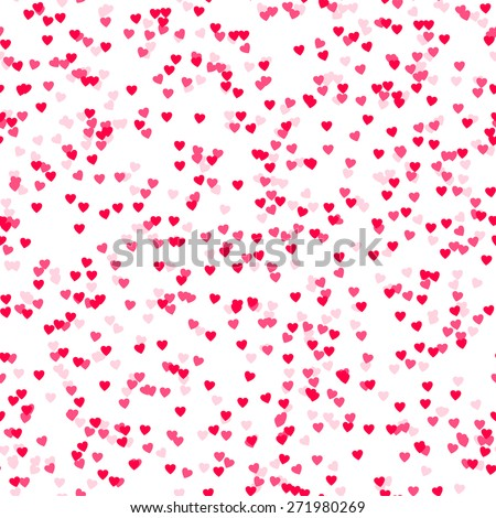 Seamless background with many tiny heart shaped confetti pieces - stock vector