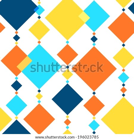 Seamless background with many vertical arranged, multicolored, different sized rhombus streaks - stock vector