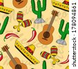 seamless background with Mexican sombreros, guitars, maracas and cacti - stock vector
