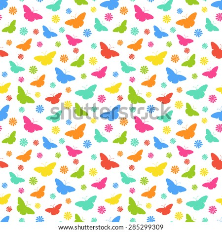 Seamless background with multi-colored butterflies. Vector illustration. - stock vector