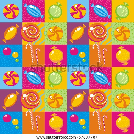 Seamless background with multi-coloured candy