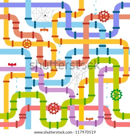 seamless background with multicolored pipes in the web - stock vector