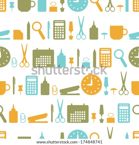 Seamless background with office stationery icons - stock vector
