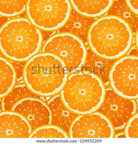 Seamless background with orange slices. Vector illustration. - stock vector