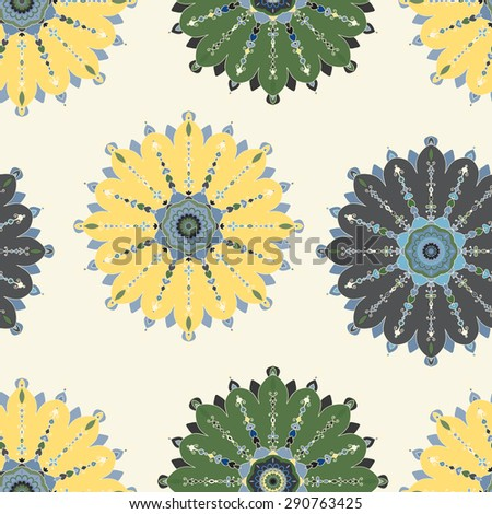 Seamless background with ornamental shapes. Vector illustration.
