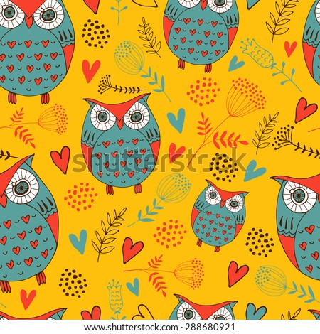 seamless background with owls - stock vector
