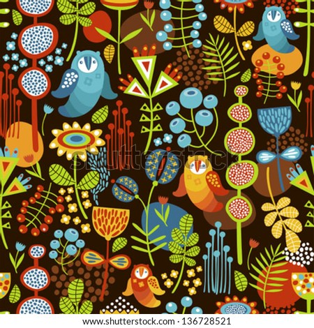Seamless background with owls. Vector nature pattern. - stock vector
