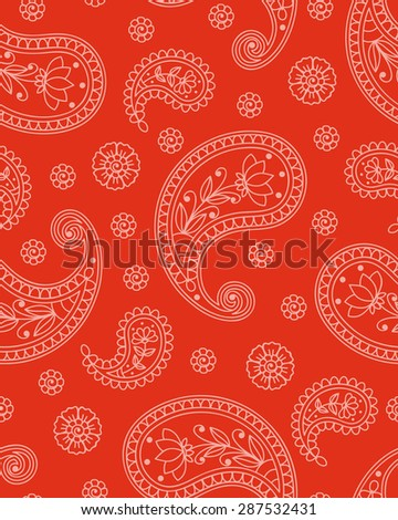 Seamless background with paisley pattern. Vector illustration. - stock vector