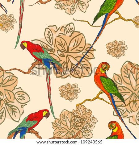 seamless background with parrots - stock vector