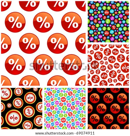 Seamless background with percent symbols. - stock vector