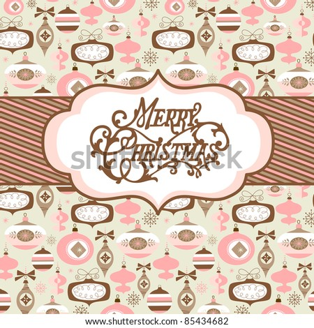 Seamless background with pink, brown and white Christmas baubles and a banner - stock vector
