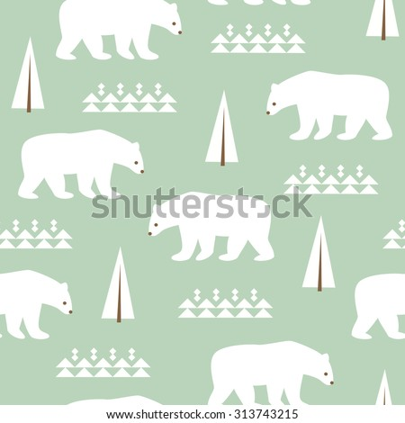 Seamless background with polar bears for winter and christmas theme. Vector illustration.