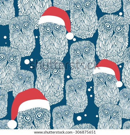 Seamless background with polar owls in christmas hats. Vector winter illustration. - stock vector