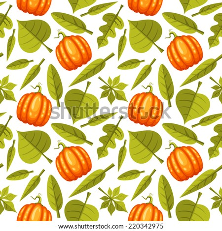 Seamless background with pumpkins and green leaves - stock vector