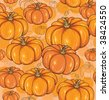 Seamless background with pumpkins in orange color - stock vector