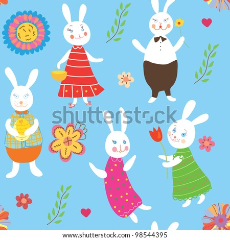 Seamless background with rabbits and flowers - stock vector