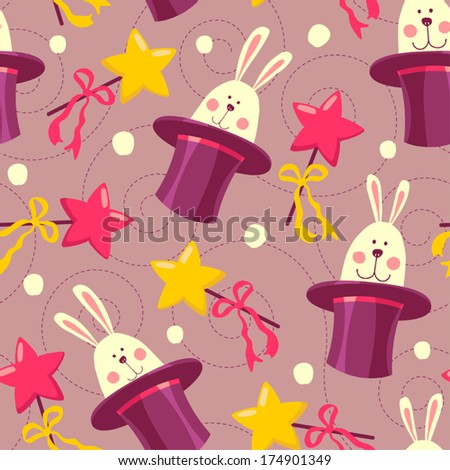 seamless background with rabbits in hats - stock vector
