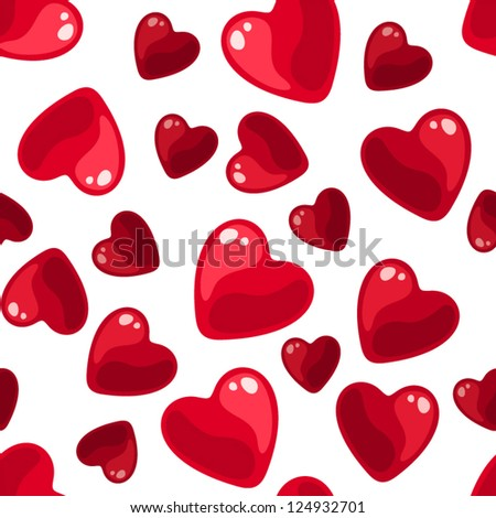 Seamless background with red hearts. Vector illustration.