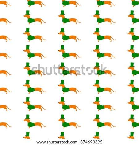 Seamless background with repeating cute dachshund in emerald hat and jersey isolated on white background. Textile, wrapping paper, wallpaper, boxes decoration, other packing elements template - stock vector