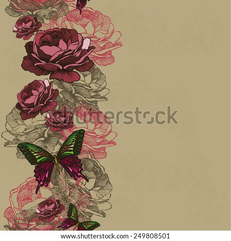 Seamless background with ribbon roses and butterflies. Vector illustration. - stock vector
