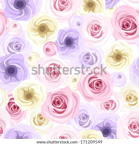 Seamless background with roses and lisianthus flowers. Vector illustration. - stock vector