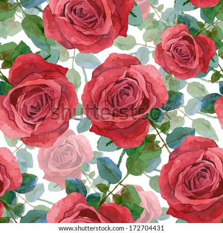 Seamless background with roses. Watercolor painting - stock vector
