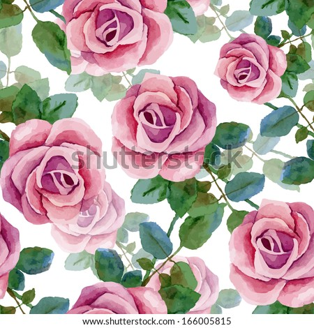 Seamless background with roses. Watercolor painting. Vector illustration - stock vector