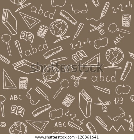Seamless background with school object icon and symbols. Education pattern doodle. - stock vector