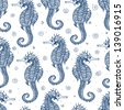 Seamless background with sea-horses. Vector illustration - stock