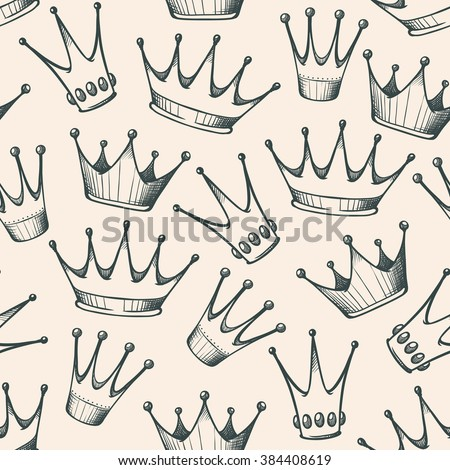 Seamless background with sketch crown. Vintage vector pattern with princess king crowns. Hand drawn doodle crown