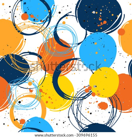 Seamless background with spots and splashes of paint. - stock vector