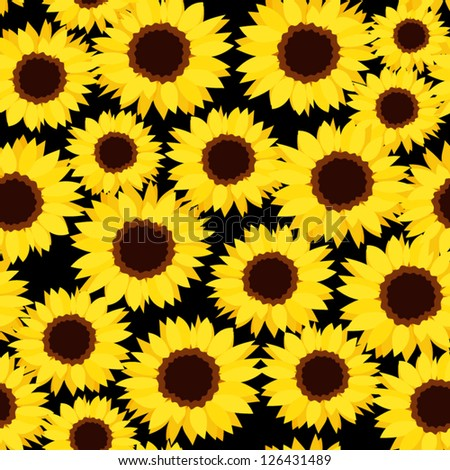 Seamless background with sunflowers. Vector illustration. - stock vector