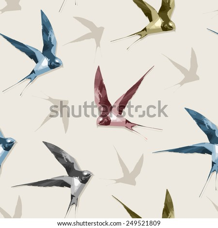Seamless background with swallows - stock vector