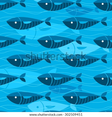 Seamless background with swimming blue fishes in ocean - stock vector